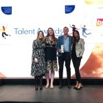 BSG CEO, Jurie Schoeman, was on hand to receive the trophy for Best Employer Brand at the LinkedIn Talent Awards. Pictured with Laura Gregg from LinkedIn, Lorraine Deane, BSG Marketing and Relationship Sales Operations Manager and Hina Soni, BSG Consultant